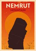 Vintage Nemrut Mount Poster — Stock Vector