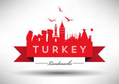 Turkey Country Skyline Design — Stock Vector