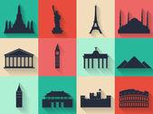 Monumenten van de wereld — Stockvector