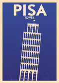 Pisa Tower Typographic City Poster — Stock Vector