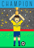 Mästare player cup platt design — Stockvektor