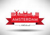 Amsterdam City Typography Design — Stock Vector