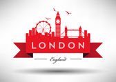 London City Skyline with Typographic Design — Stock Vector