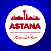 Astana Skyline with Typography Design — Stock Vector