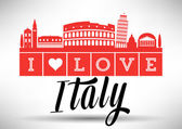Italian Landmark with Typographic Design — Stock Vector