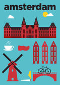 Amsterdam City Icons Poster — Stock Vector