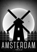 Typographic Amsterdam City Poster — Stock Vector