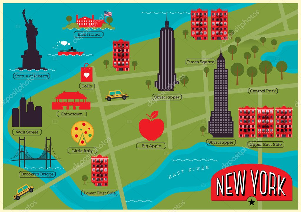 new york map with landmarks