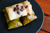 Sticky Rice and bananas is Thai dessert — Stock Photo