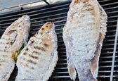 Grilled fish with salt — Stock Photo