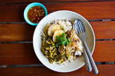 Fresh ham on rice — Stock Photo