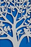 Tree on a blue wall — Foto de Stock