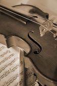 Violin and Bow — Stockfoto