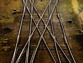 Railway cross-junction — Stock Photo