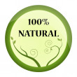 Green 100 percent natural brand, label or badge — Stock Vector