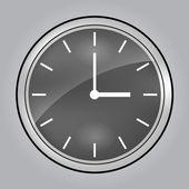 Grey wall clock at 3 o'clock — Stock Vector