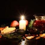 Christmas tea set — Stock Photo