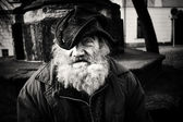 Homeless man emotional portrait — Stock Photo