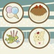 Stock Vector: Four icons of dessert