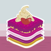 Delicious cake with strawberry — Vector de stock
