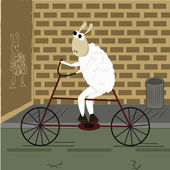 Happy sheep in bicycle — Stock Vector