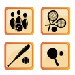 Four icons of funny sports — 图库矢量图片