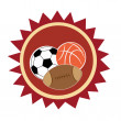 Icon of three different sports — Stock Vector