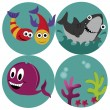 Four icons of the sea — Stock Vector