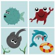 Four icons of the animals in the sea — Stock Vector