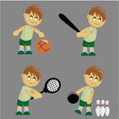 Boy playing different sports — Stock Vector