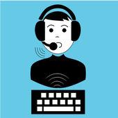 Human talking via microphone — Stock Vector