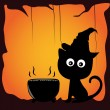 Stock Vector: Cat and halloween
