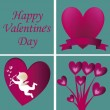 Stock Vector: Four silhouettes for valentine's day