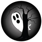 Schüchtern Geist in halloween — Stockvektor