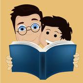 Due ragazzi leggendo un libro — Vettoriale Stock