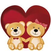 Two teddy bears in valentine's day — Stock Vector