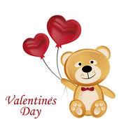 Happy teddy bear in valentine's day — Stok Vektör