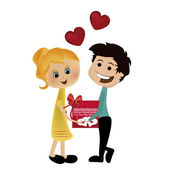 Happy couple in valentine's day — Stock Vector