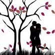 Kiss under a naked tree — Stock Vector