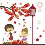 Singing under the autumn — Stock Vector #35216283
