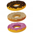 Three donuts — Stock Vector