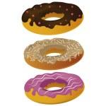 Three donuts — Stock Vector