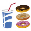 Three donuts with drink — Stock Vector