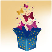 Boxes with butterflies — Stock Vector