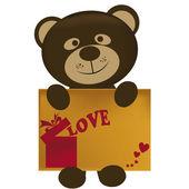 Teddy with card — Stock Vector