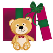 Teddy bear present — Stock Vector