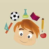 Boy in school — Vector de stock