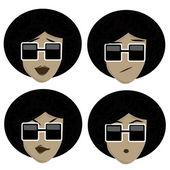 Quatre icônes d'expressions faciales — Vecteur