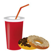 Donut and a drink — Stock Vector