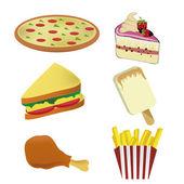 Seis iconos de comida rápida — Vector de stock